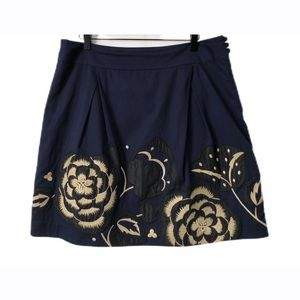 Floreat by Anthropologie Blue Sufi Embroider Skirt